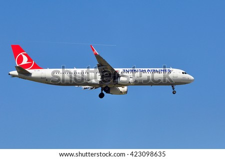 FRANKFURT,GERMANY-MAY 05: Airbus A321 of Turkish Airlines on May 05,2016 in Frankfurt,Germany.Turkish Airlines is the national flag carrier airline of Turkey.
