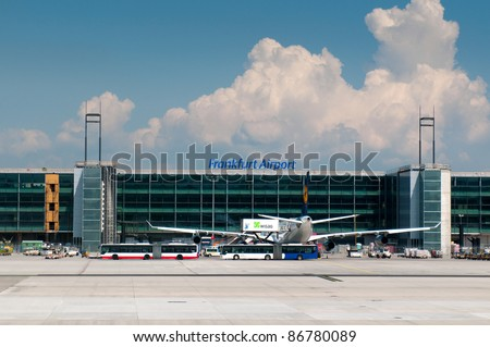 FRANKFURT, GERMANY - MAY 21: Aircraft standing near the terminal 2 at Frankfurt/Main airport on May 21, 2011. it`s a one of the busiest airport in Europe with 53 million passengers in 2010.