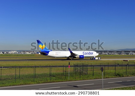 FRANKFURT,GERMANY-MAY 13:airplane of CONDOR in the Frankfurt airport on May 13,2015 in Frankfurt,Germany