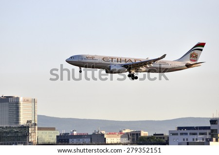 FRANKFURT,GERMANY-MAY 13:airplane of Etihad Airways above the Frankfurt airport on May 13,2015 in Frankfurt,Germany. - stock photo