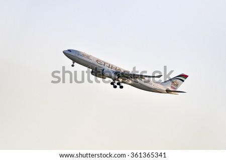 FRANKFURT,GERMANY-MAY 13:airplane of Etihad Airways above the Frankfurt airport on May 13,2015 in Frankfurt,Germany.Etihad Airways is a flag carrier  of the United Arab Emirates, in Abu Dhabi. - stock photo