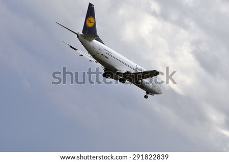 FRANKFURT,GERMANY-MAY 13:airplane of LUFTHANSA above the Frankfurt airport on May 13,2015 in Frankfurt,Germany.