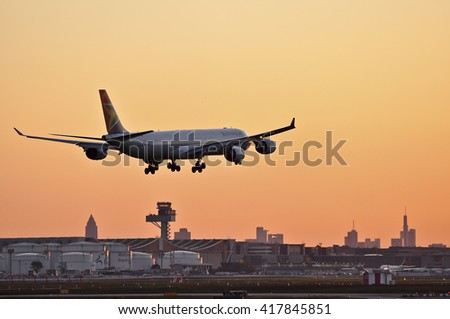 FRANKFURT,GERMANY-MAY 05:airplane of South African in the morning sun above Frankfurt airport on May 05,2016 in Frankfurt,Germany.South African Airways-national flag carrier  of South Africa.