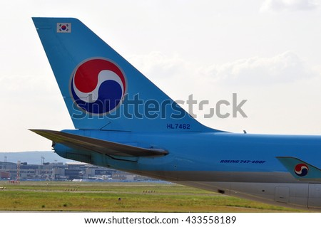 FRANKFURT,GERMANY-MAY 26:Boeing 747 of KOREAN AIR CARGO above the Frankfurt airport on May 26,2016 in Frankfurt,Germany.Korean Air is the largest airline in South Korea,located in Seoul.