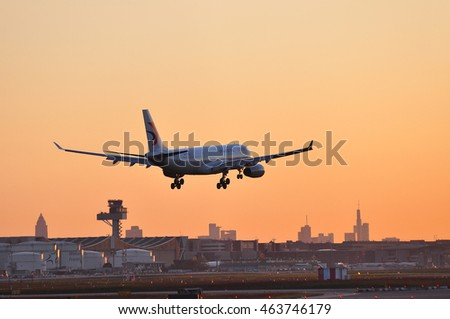 FRANKFURT,GERMANY-MAY 05: China Eastern Airlines Airbus A330 in the morning sun above Frankfurt airport on May 05,2016 in Frankfurt,Germany.China Eastern Airlines is in Shanghai, China.