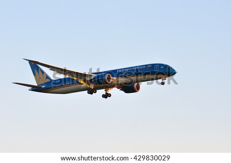 FRANKFURT,GERMANY-MAY 05: early morning Boeing 787 of VIETNAM AIRLINES over Frankfurt airport on May 05,2016 in Frankfurt,Germany.Vietnam Airlines is the flag carrier of Vietnam.