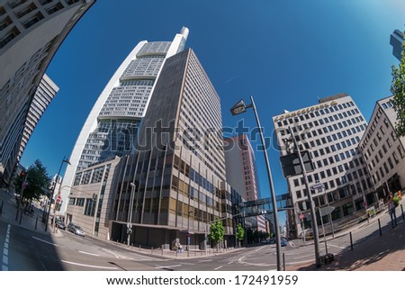 FRANKFURT, GERMANY - MAY 11, 2008: Frankfurt city street view.  Frankfurt is the fifth-largest city in Germany  is also a center for finance, commerce, culture, education and tourism.