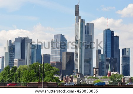 FRANKFURT,GERMANY-MAY 26:Frankfurt's Skyline by Main River on May 26,2016 in Frankfurt,Germany. Frankfurt is the financial center of Germany. Frankfurt is the financial center of Germany.