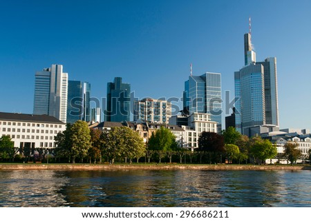 FRANKFURT,GERMANY 5 MAY 2015: Highest building is the Commerzbank headquarter in surrounded by other administrative skyscrapers - stock photo