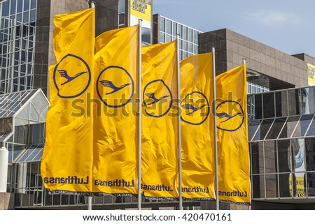 FRANKFURT, GERMANY - MAY 13, 2016: Lufthansa flag with Lufthansa symbol, the crane in Frankfurt, Germany. The aktual Lufthansa Logo is a design from 1964.
