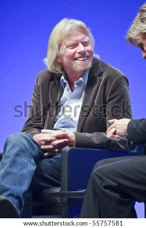 FRANKFURT, GERMANY - MAY 17: Richard Branson, Founder and President of Virgin Group, answering to SAP moderator in his keynote at SAPPHIRE conference of SAP company MAY 17, 2010 in Frankfurt - stock photo