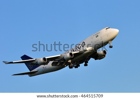FRANKFURT,GERMANY-MAY 05: Saudia Cargo Boeing 747 on May 05,2016 in Frankfurt,Germany.Saudi Airlines Cargo Company (SACC) is a leading cargo carrier based in Saudi Arabia with global reach.