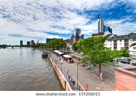 FRANKFURT, GERMANY, MAY 27th, 2013. Frankfurt am Main. Image of Frankfurt skyline during sunny day taken from the Iron Bridge over the Main River on May 27th 2013.