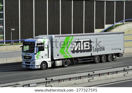 FRANKFURT,GERMANY - MAY 08:truck  on the highway on May 08,2015 in Frankfurt, Germany.
