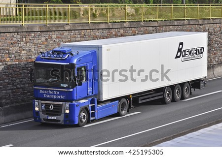 FRANKFURT,GERMANY-MAY 11: truck on the highway on May 11,2015 in Frankfurt,Germany.