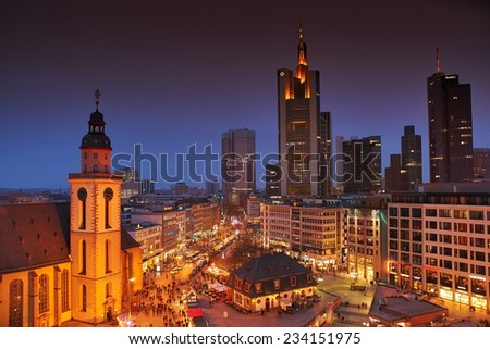 FRANKFURT, GERMANY, 29 NOVEMBER, 2014 - Officially known as Frankfurt Am Main, Frankfurt is the  largest financial centre in continental Europe and ranks among the world's leading financial centres.