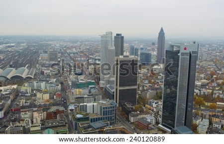 FRANKFURT, GERMANY, NOVEMBER 14, 2014: view of skyline of frankfurt taken from top of the main tower.