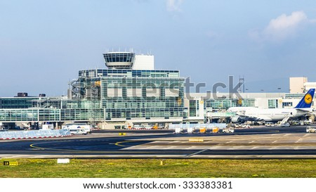 FRANKFURT, GERMANY - OCT 20, 2015: Aircraft standing near the terminal 1 at Frankfurt Main airport. it is a one of the busiest airport in Europe with 53 million passengers in 2010. - stock photo
