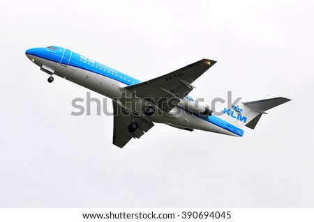 FRANKFURT,GERMANY-OCT 08:airplane of KLM above the Frankfurt airport on October 08,2015 in Frankfurt,Germany.KLM is the flag carrier airline of the Netherlands.