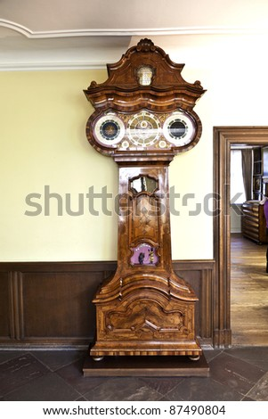 FRANKFURT, GERMANY OCTOBER 22: astronomical clock in the Goethe museum on October 22,2011 in Frankfurt, Germany. The clock was built in 1746 on a design of Court Councillor Wilhelm Friedrich Huesgen.
