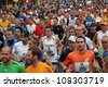 FRANKFURT, GERMANY - OCTOBER 30: Runners start the BMW Frankfurt Marathon, October 30, 2011 in Frankfurt, Germany. - stock photo