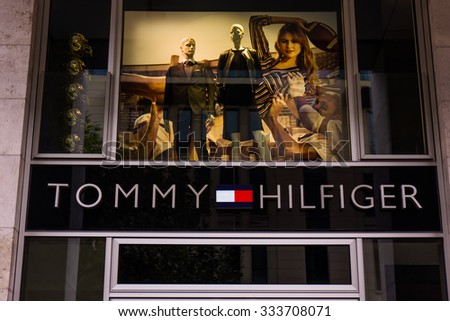 FRANKFURT,GERMANY-Oktober 24, 2015:Detail of the entrance to a Tommy Hilfiger store.Tommy Hilfiger is an American fashion,apparel, design, fragrance retail company, offering consumers low end products