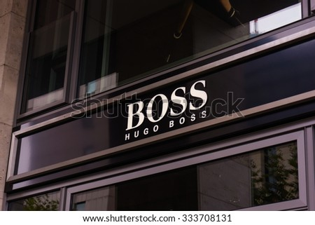 FRANKFURT, GERMANY - OKTOBER 24, 2015: Hugo Boss shop in Frankfurt, Germany. Hugo Boss is German luxury fashion and style house founded in Metzingen at 1924.