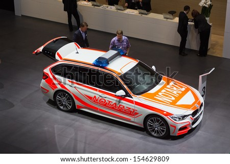 FRANKFURT, GERMANY - SEP 13: BMW F31 3 Series Touring as an emergency vehicle at the Frankfurt IAA motor show on Sep 13, 2013 in Frankfurt. - stock photo