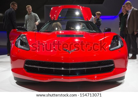 FRANKFURT, GERMANY - SEP 13: Chevrolet Corvette Stingray at the IAA motor show on Sep 13, 2013 in Frankfurt. More than 1.000 exhibitors from 35 countries are present at the world's largest motor show. - stock photo