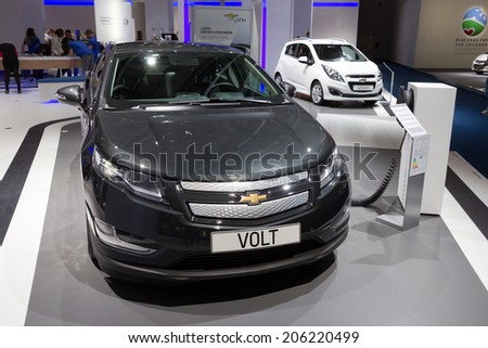 FRANKFURT, GERMANY - SEP 13: Chevrolet Volt electric car at IAA motor show on Sep 13, 2013 in Frankfurt. More than 1.000 exhibitors from 35 countries are present at the world's largest motor show. - stock photo