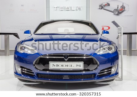 FRANKFURT, GERMANY - SEP 16, 2015: European debut of the Tesla model S P90D at the IAA 2015.  - stock photo