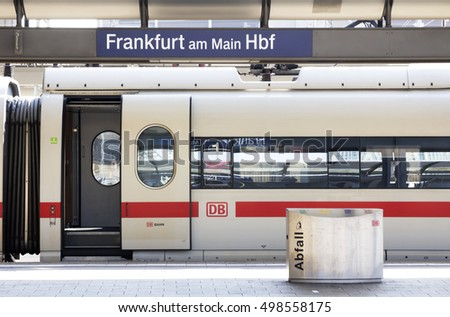 FRANKFURT, GERMANY - SEP 10, 2016: Inside the Frankfurt central station in Frankfurt, Germany.