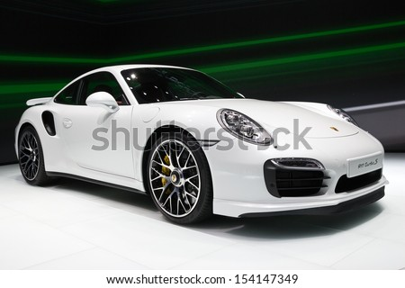 FRANKFURT, GERMANY - SEP 13: Porsche 911 Turbo S at the IAA motor show on Sep 13, 2013 in Frankfurt. More than 1.000 exhibitors from 35 countries are present at the world's largest motor show. - stock photo