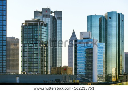 FRANKFURT, GERMANY - SEP 30: Skyline with the 155 meter high twin towers Deutsche Bank I and II on Sep 30, 2011 in Frankfurt.