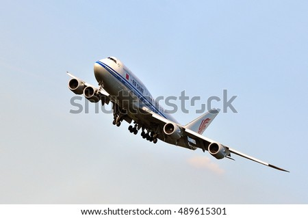 FRANKFURT,GERMANY-SEPT 08:AIR CHINA Boeing 747 over the Frankfurt airport on April September 08,2016 in Frankfurt,Germany.Air China is the national airline of of China based in Beijing.