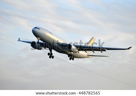 FRANKFURT,GERMANY-SEPT 24:Airbus A330-200 of Air Namibia over the Frankfurt airport on September 24,2015 in Frankfurt,Germany.Air Namibia is the national airline of Namibia, headquartered in Windhoek.