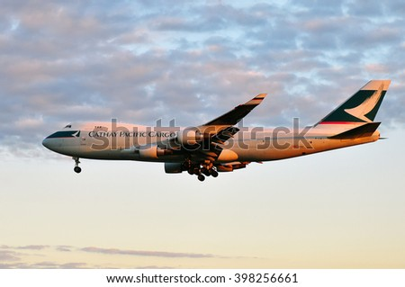 FRANKFURT,GERMANY-SEPT 04:airplane of Cathay Pacific Cargo on September 04,2015 in Frankfurt,Germany.Cathay Pacific Airlines is the flag carrier of Hong Kong.