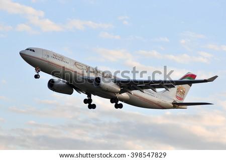 FRANKFURT,GERMANY-SEPT 04:airplane of Etihad Airways above the Frankfurt airport on September 04,2015 in Frankfurt,Germany.Etihad Airways is a flag carrier of the United Arab Emirates, in Abu Dhabi. - stock photo