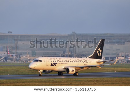 FRANKFURT,GERMANY-SEPT 24:airplane of LOT Polish Airlines the Frankfurt airport on September 24,2015 in Frankfurt,Germany