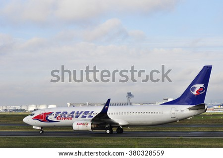 FRANKFURT,GERMANY-SEPT 24:airplane of Travel Service in the Frankfurt airport on September 24,2015 in Frankfurt,Germany Travel Service- Czech charter airline, biggest airline in the Czech Republic .