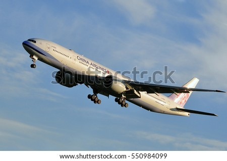 FRANKFURT,GERMANY-SEPT 29: China Airlines Boeing 777-300ER over airport on September 29,2016 in Frankfurt,Germany.China Airlines is the flag carrier and largest airline of the Republic of China.