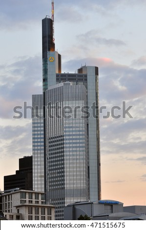 FRANKFURT,GERMANY- SEPT 11:COMMERZBANK skyscraper on September 11,2015 in Frankfurt, Germany.Commerzbank AG is a German global banking and financial services company.