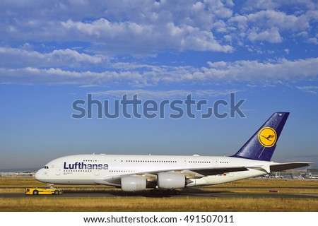 FRANKFURT,GERMANY-SEPT 29:Lufthansa Airbus A380 on the runway on September 29,2016 in Frankfurt,Germany