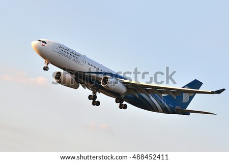 FRANKFURT,GERMANY-SEPT 08:OMAN AIR Airbus A330 over the Frankfurt airport on September 08,2016 in Frankfurt,Germany.Oman Air is the national airline of Oman, based in Seeb, Muscat.