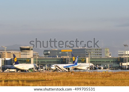 FRANKFURT,GERMANY-SEPT 29:panoramic view on the Frankfurt airport on September 29,2016 in Frankfurt,Germany.