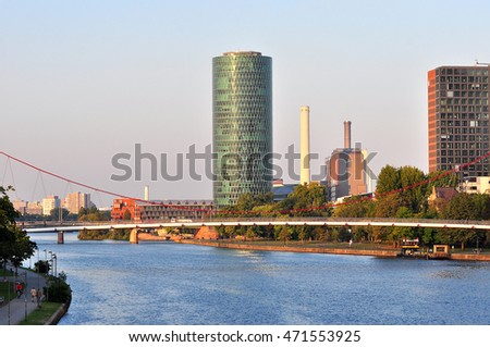 FRANKFURT,GERMANY- SEPT 11:panoramic views of Frankfurt am Main on September 11,2015 in Frankfurt, Germany.