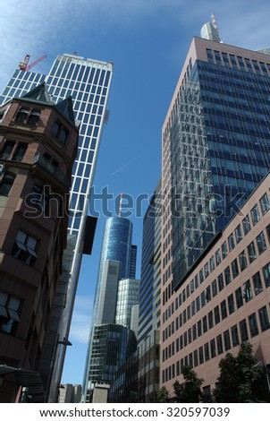 FRANKFURT, GERMANY - SEPTEMBER 3, 2013: A photograph of office buildings in the center of Frankfurt, Germany, September 3, 2013. - stock photo