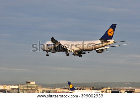 FRANKFURT,GERMANY-SEPTEMBER 04:Boeing 747 of Lufthansa above the Frankfurt airport on September 04,2015 in Frankfurt,Germany.Lufthansa is a German airline and also the largest airline in Europe.