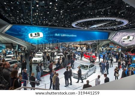 "FRANKFURT, GERMANY - SEPTEMBER 16, 2015: Frankfurt international motor show (IAA) 2015. AUDI forum ""AGORA - stock photo"