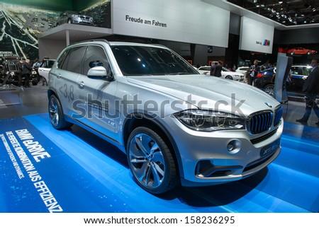 FRANKFURT, GERMANY - SEPTEMBER 11: Frankfurt international motor show (IAA) 2013. BMW Concept X5 eDrive - world premiere - stock photo